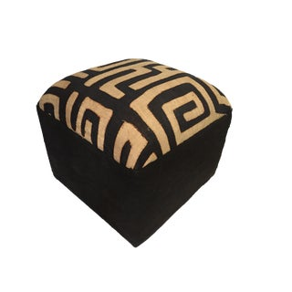 Custom Made African Kuba Textile Ottoman For Sale