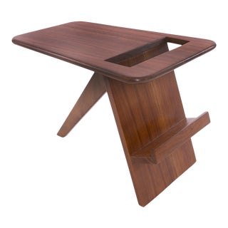 1960s Solid Walnut Magazine Holder For Sale