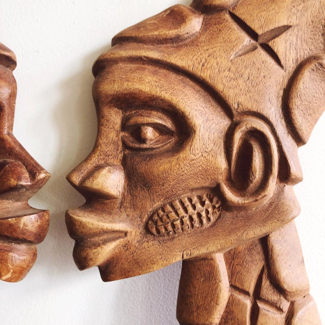 African Vintage African Wooden Faces Wall Art For Sale - Image 3 of 6