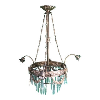1920s Art Deco Copper With Crystal Hangings Chandelier For Sale