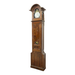 19th Century Antique Standing French Long Case Walnut Grandfather Clock For Sale