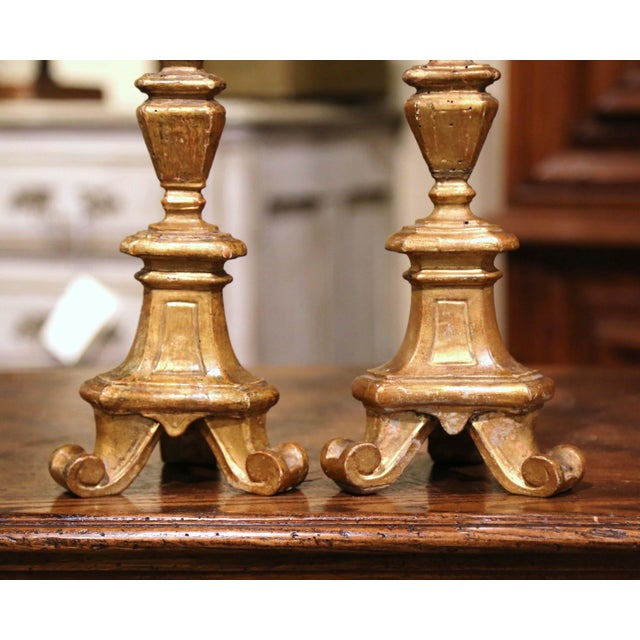 19th Century Italian Carved Giltwood Cathedral Candlesticks - a Pair For Sale - Image 4 of 9