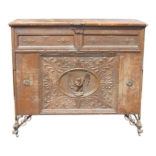 Old Rare Antique Rustic Spanish Style Eagle Motif Console Table ~ Fold Away Bed Side Table For Sale