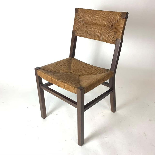 Charlotte Perriand Set of 1950s French Countryside Woven Rush Seat & Back Chairs For Sale - Image 4 of 8