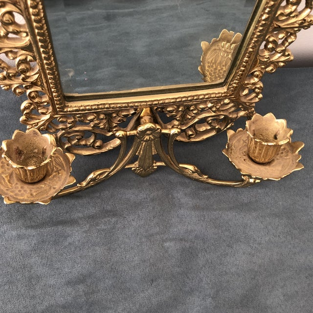 1950s 1950s Gold Gilded French Art Nouveau Mirror Wall Sconces For Sale - Image 5 of 8