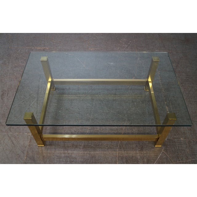 Gold Mastercraft Brushed Brass & Glass Coffee Table For Sale - Image 8 of 10