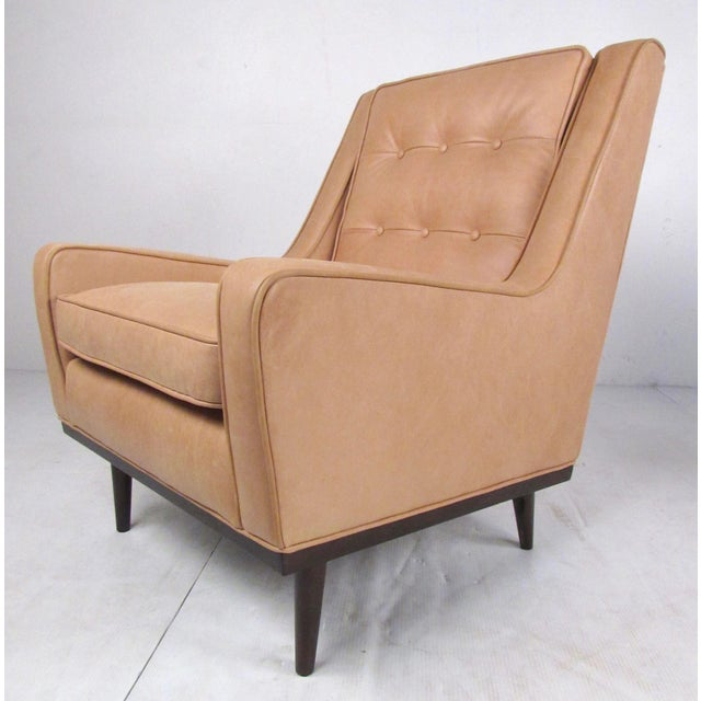 Tan Pair Modern Leather Lounge Chairs For Sale - Image 8 of 11