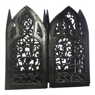 Antique Spanish Black Wrought Iron Lanterns - A Pair