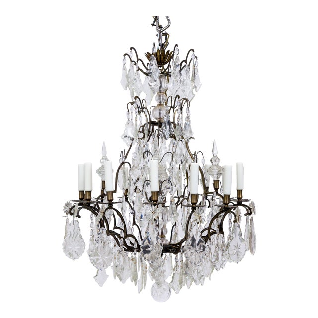 Early 20th Century Multi Crystal 15-Arm Birdcage Chandelier For Sale