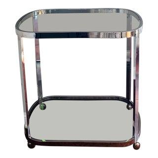 1970s Contemporary Milo Baughman Chrome and Glass Bar Cart For Sale
