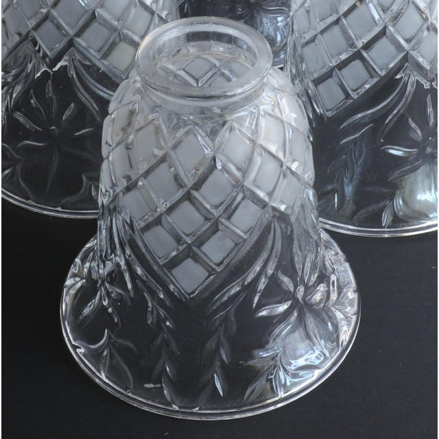 Glass Vintage Cut Glass Light Shade Covers - Set of 6 For Sale - Image 7 of 13