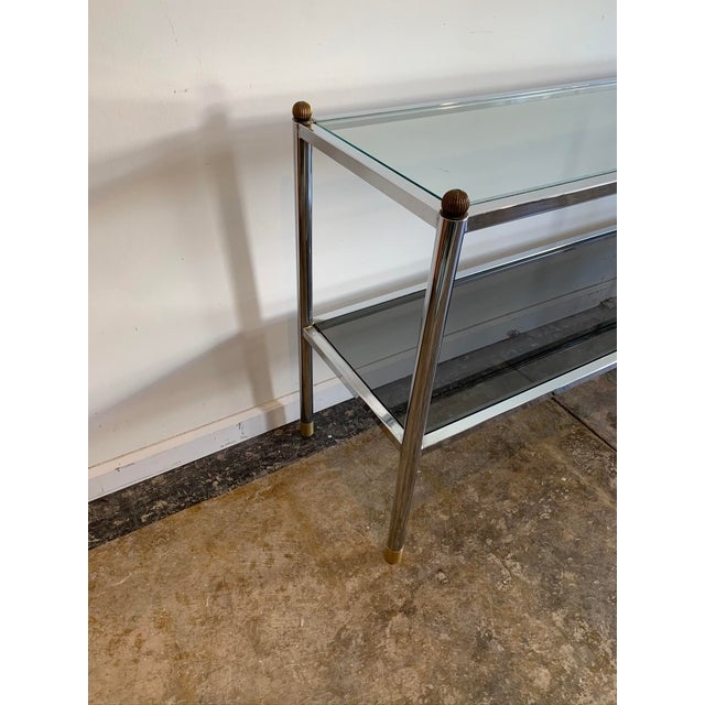 1970s Mid-Century Modern Chrome & Glass Entry Table For Sale - Image 4 of 7