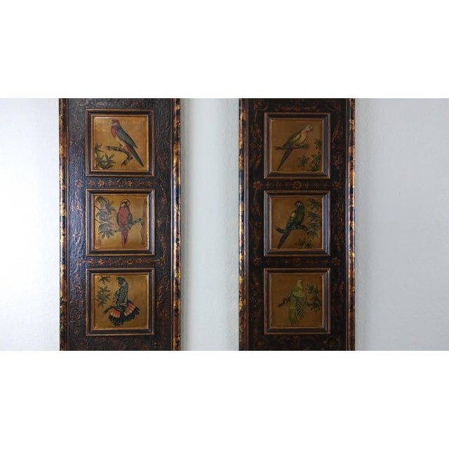 This listing is for a Castilian Imports Tropical Birds wood wall plaque panel - Set of 2 These items have some aging...