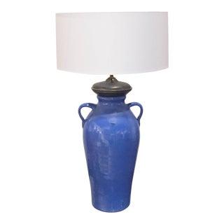 Antique Blue Pottery Lamp