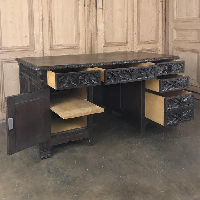 Antique French Gothic Parquet Top Desk For Sale In Dallas - Image 6 of 13