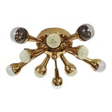Image of Mid-Century Flush Mount Brass Sputnik Chandelier For Sale