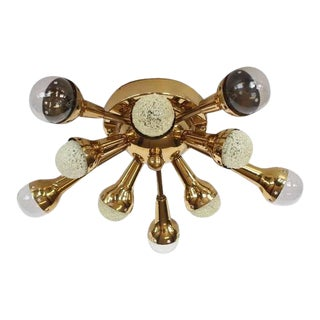 Mid-Century Flush Mount Brass Sputnik Chandelier For Sale