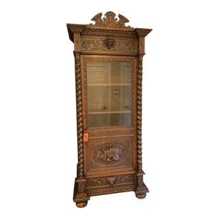 Antique French Carved Oak Vitrine Cabinet Bookcase Barley Twist Renaissance For Sale