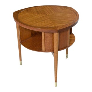 John Keal for Brown-Saltman Mahogany Drum Table Lazy Susan Cocktail Table 1950's For Sale
