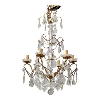 Italian Six Arm Tiered Crystal Chandelier With Amethyst Beads For Sale