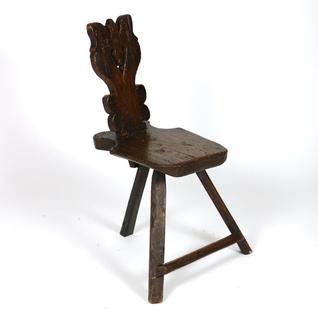 17th Century A Rustic Carved Oak Tyrolean Three Legged Chair; Austria Circa 1680 For Sale - Image 5 of 13