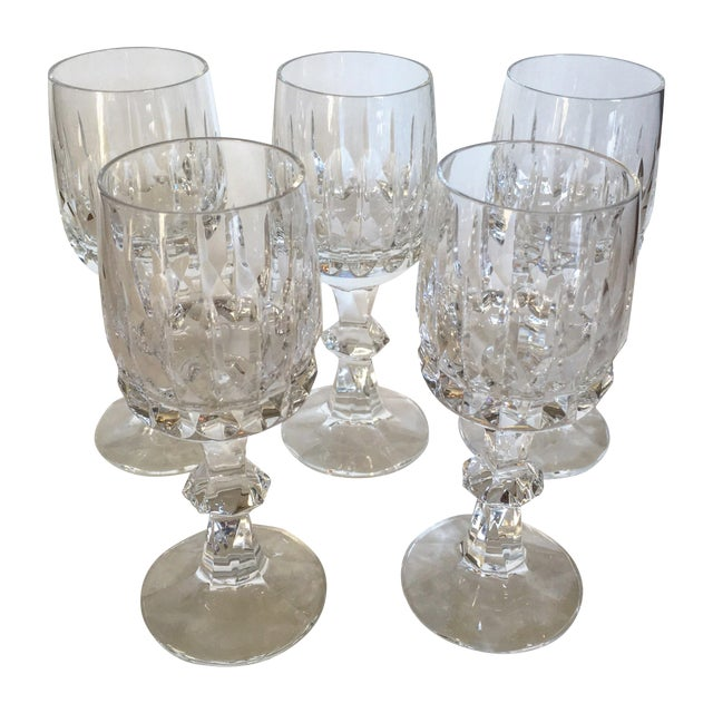 Antique Clear Cut Crystal Wine Goblets - Set of 5 - Image 1 of 4