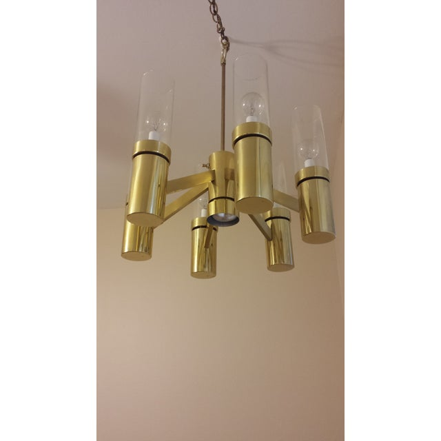 Brass 6 Arm Chandelier Attributed to Sciolari - Image 6 of 8