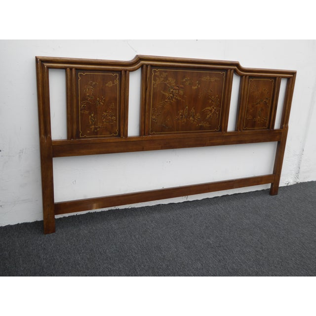 Vintage Drexel Heritage Mid-Century Modern Floral Chinoiserie King Headboard - Image 4 of 11