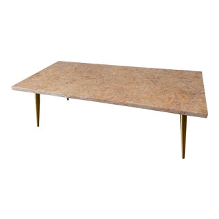 Mid Century Marble and Brass Coffee Table For Sale