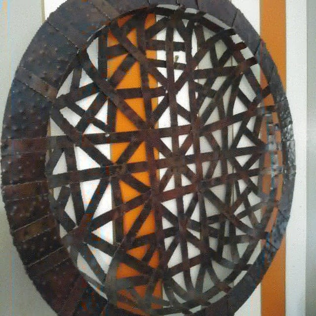 Palecek Brutalist Palecek Vintage Gigantic Welded Strips of Metal Wall Decor Platter For Sale - Image 4 of 6