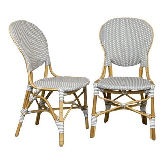 "Sika Design ""Isabell"" Gray & White Rattan Side Chairs - a Pair For Sale"