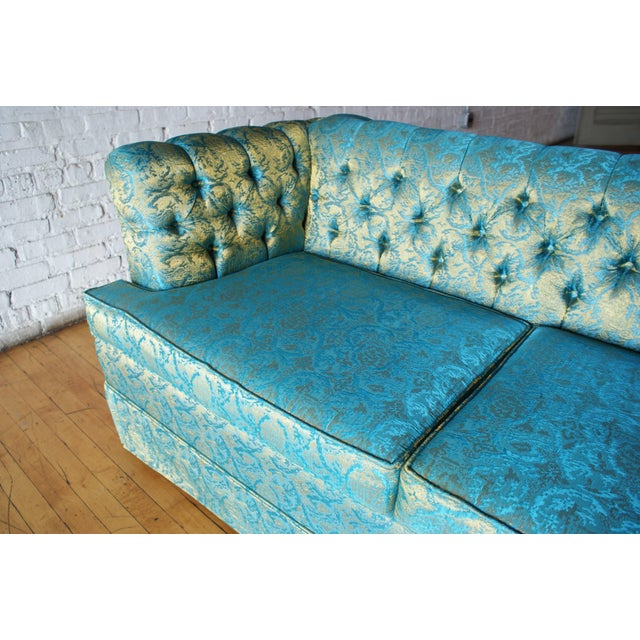Mid 20th Century Blue and Gold Tufted Sofa by Howard Palmer for Harmony House For Sale - Image 5 of 11