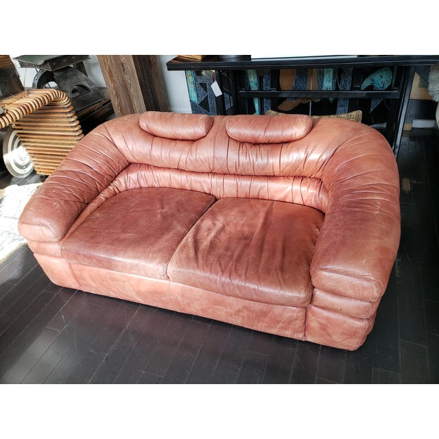 Rustic 1960s Italian Zanotta Two-Seater Leather Sofa For Sale - Image 3 of 9
