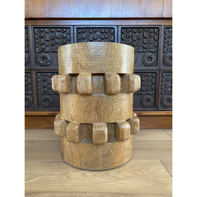 Wood Vintage Hand-Carved Wooden Stool Side Table For Sale - Image 7 of 8