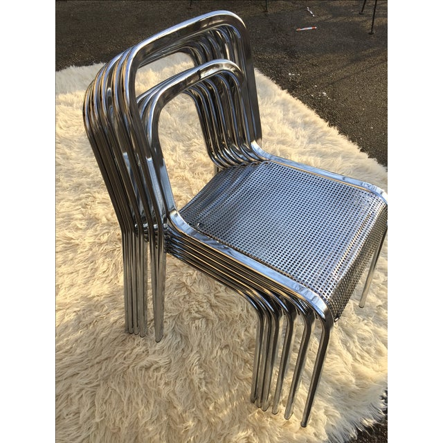 Vintage Chrome Stacking Chairs - 6 - Image 3 of 7