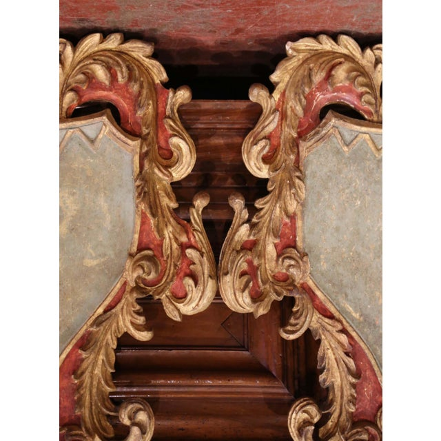 Early 20th Century Italian Carved Gilt and Painted Wall Hanging Shields - a Pair For Sale In Dallas - Image 6 of 9