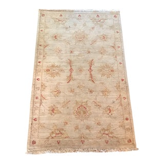Oushak Turkish Area Rug With Fringes. For Sale