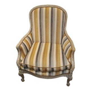 Bergere Grey/Tan/Gold Stripe Upholstered Chair For Sale