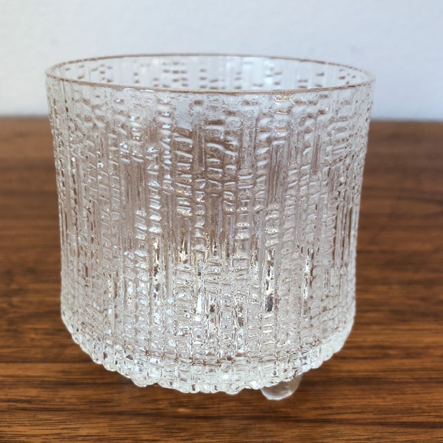 Mid-century Scandinavian Tapio Wirkkala for Iittala glasses. This rare set of 4 lo-ball Finnish glassware has the...
