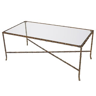 French Bagues Style Bronze Faux Bamboo Coffee Cocktail Table For Sale