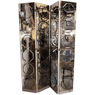 Art Deco 4-Panel Screen Smoked Mirror Screen With Octagonal Appliqués For Sale