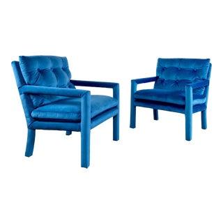 Vintage MCM Cobalt Blue Velvet Parsons Chairs, a Pair For Sale
