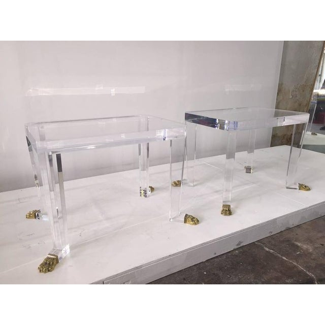 Pair of Custom Designed Lion Feet on Acrylic Side Tables For Sale - Image 4 of 8
