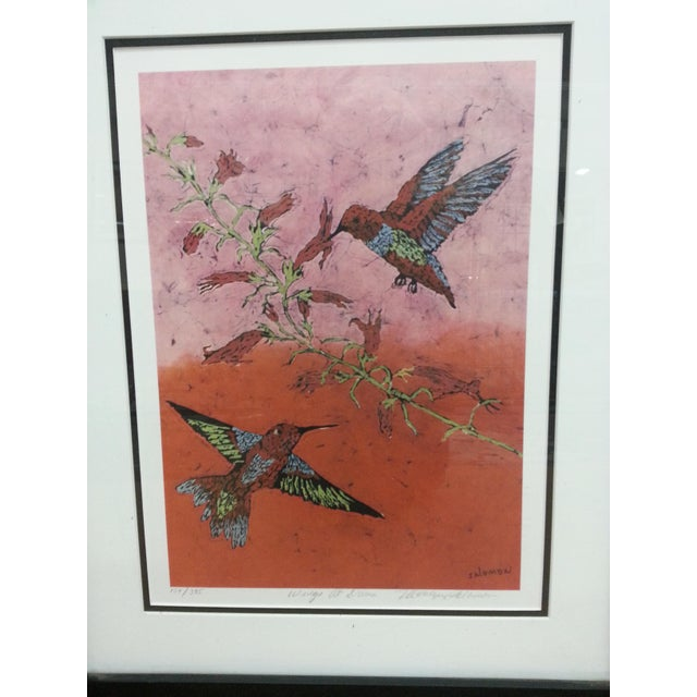 """Marilyn Salomon """"Wings at Dawn"""" Original Batik Print For Sale In Los Angeles - Image 6 of 8"""