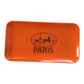 French Equestrian Orange and Brown Hermès Inspired Change Tray For Sale