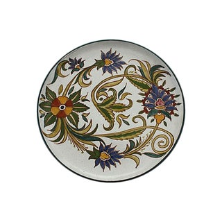 Hand-Painted Moroccan Ceramic Plate For Sale