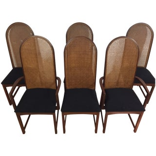 Milo Baughman Cane-Back Dining Chairs - Set of 6