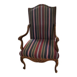 French Regence Style Striped Upholstered Fauteuil Walnut Open Arm Chair
