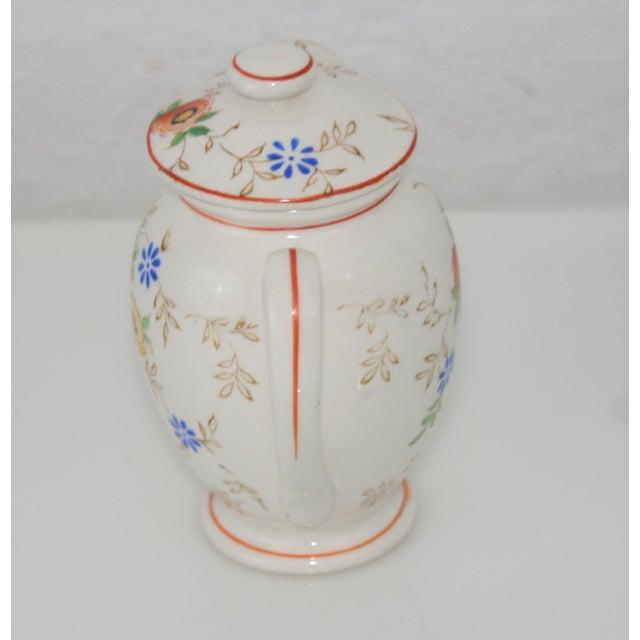 Vintage Mid-Century Japan Ceramic Floral Design Lidded Syrup Pitcher For Sale - Image 4 of 9