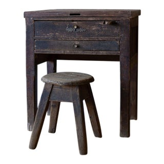 Vintage Silversmith Workbench & Stool For Sale